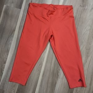 adidas Climate cropped leggings size Large -coral